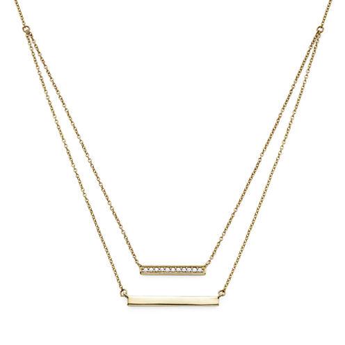 1/10 CT. T.W. Diamond 10K Yellow Gold Layered Bar Necklace