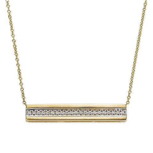 1/10 CT. T.W. Diamond 10K Yellow Gold Bar Necklace