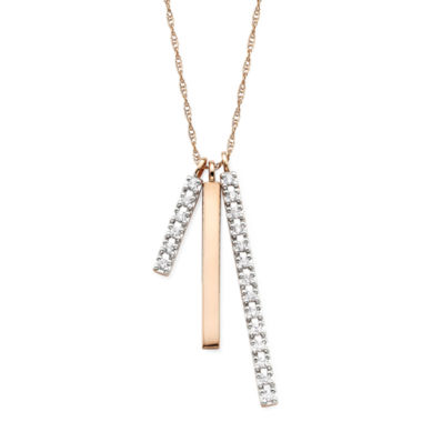 jcpenney.com | 1/4 CT. T.W. Diamond 10K Rose Gold 3-Bar Pendant Necklace