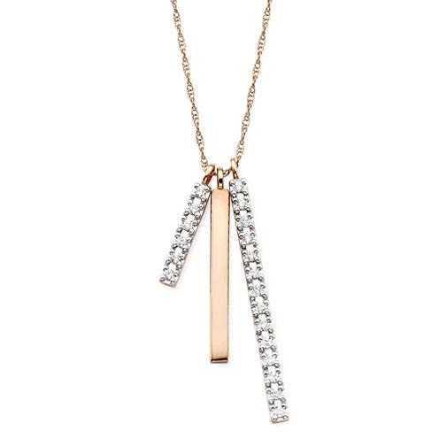 1/4 CT. T.W. Diamond 10K Rose Gold 3-Bar Pendant Necklace