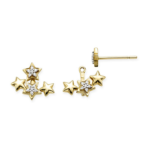 1/10 CT. T.W. Diamond 10K Yellow Gold Star 2-in-1 Earrings