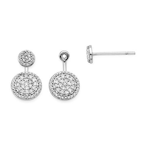 3/8 CT. T.W. Diamond 10K White Gold Cluster 2-in-1 Earrings