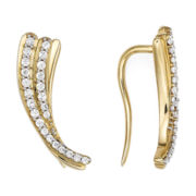 1/4 CT. T.W. Diamond 10K Yellow Gold Curve Earrings