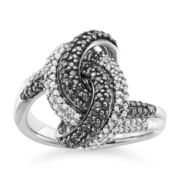 1/2 CT. T.W. White and Color-Enhanced Black Diamond Sterling Silver Knot Ring