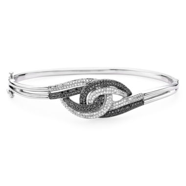 jcpenney.com | 1/2 CT. T.W. White and Color-Enhanced Black Diamond Sterling Silver Knot Bangle Bracelet
