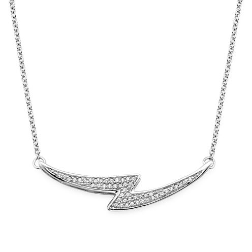 1/10 CT. T.W. Diamond Sterling Silver Bypass Necklace