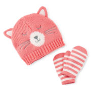 Carter's® Cat Hat and Mittens Set - Baby Girls 3m-9m