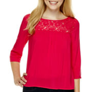 Arizona 3/4-Sleeve Lace-Yoke Woven Top