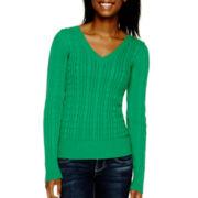 Arizona Long-Sleeve V-Neck Baby Cable Sweater