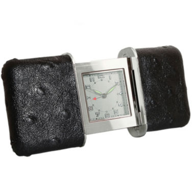 jcpenney.com | Natico Portable Black Leather Slide Travel Clock