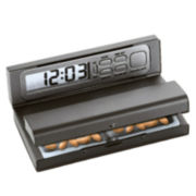 Natico Portable Travel Alarm Clock with Pill Box