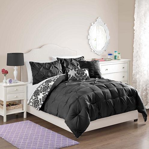 VCNY Chelsea Pintuck Damask Reversible Comforter Set