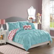 Victoria Classics Sophia Pintuck Chevron Reversible Comforter Set