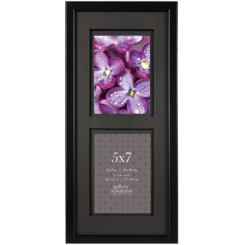 """Black with Black Airfloat Matted 2-Opening 5x7"""" Picture Frame"""