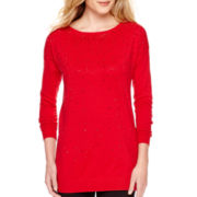 Worthington® Long-Sleeve Embellished Tunic Sweater - Tall