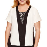 Worthington® Short-Sleeve Lace-Inset Blouse - Plus