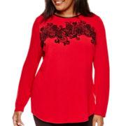 Worthington® Long-Sleeve Flocked T-Shirt - Plus