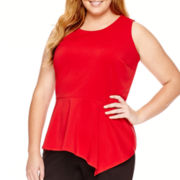 Worthington® Sleeveless Asymmetrical Peplum Top - Plus