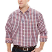 IZOD® Long-Sleeve Plaid Woven Shirt - Big & Tall