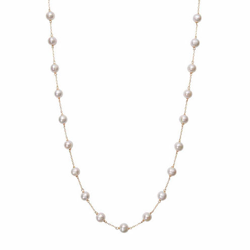 Womens White Pearl 10K Gold Strand Necklace