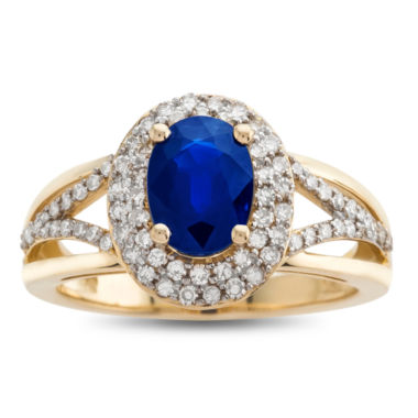 jcpenney.com | Genuine Blue Sapphire & 1/2 C.T. T.W. Diamond 14K Yellow Gold Ring