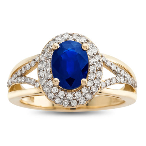 Genuine Blue Sapphire & 1/2 C.T. T.W. Diamond 14K Yellow Gold Ring