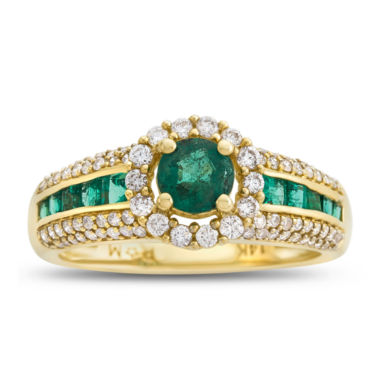 jcpenney.com | Womens 1/2 CT. T.W. Green Emerald 14K Gold Cocktail Ring
