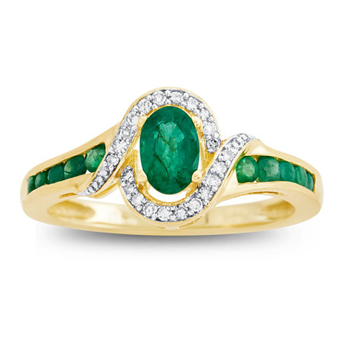 Womens Diamond Accent Green Emerald 10K Gold Cocktail Ring