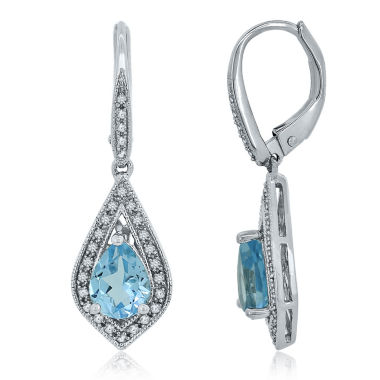 jcpenney.com | Genuine Blue Topaz & Lab Created White Sapphire Sterling Silver Earrings