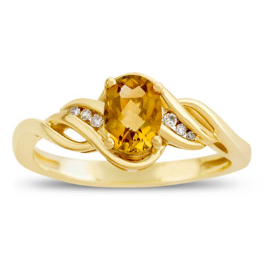 jcpenney.com | Womens Diamond Accent Yellow Citrine 10K Gold Delicate Ring