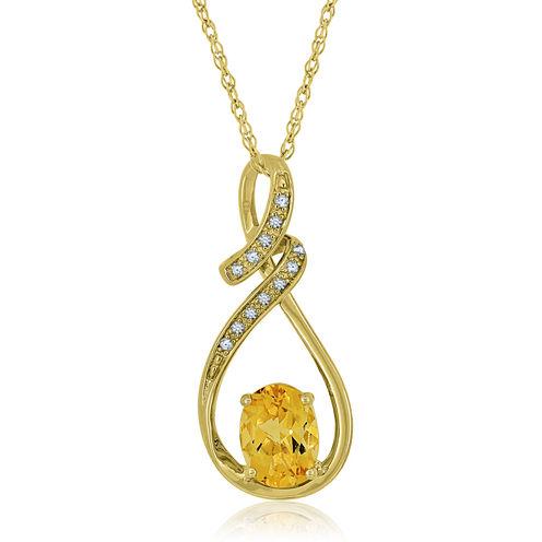 Genuine Citrine & Lab Created White Sapphire 14K Gold Over Silver Pendant Necklace
