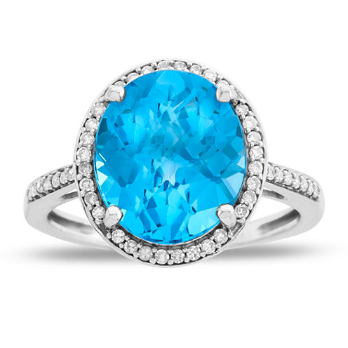 Womens Blue Blue Topaz 10K Gold Cocktail Ring