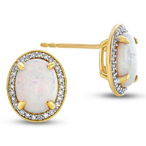 1/5 CT. T.W. Oval White Diamond 10K Gold Stud Earrings