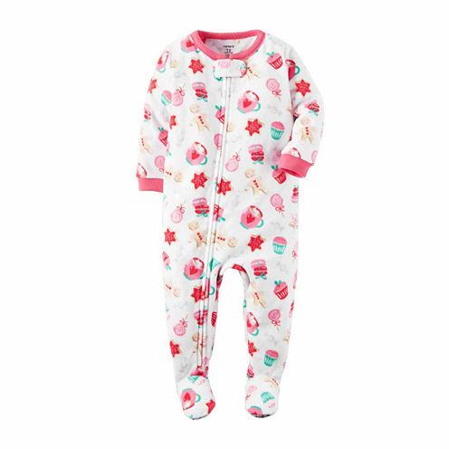 Carter's Long Sleeve Footed Pajamas-Toddler Girls