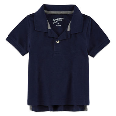 Arizona 100 short sleeve solid polo shirt baby boys for Jcpenney ladies polo shirts