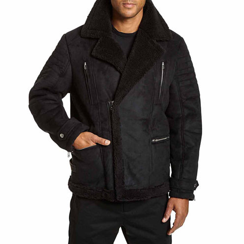 Excelled Faux Shearling Asymmetrical Zip Jacket