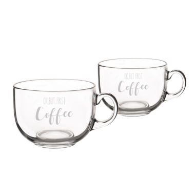 "jcpenney.com | Cathy's Concepts ""Ok, But First Coffee"" Glass 2-pc. Coffee Mug"