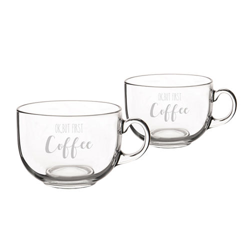 "Cathy's Concepts ""Ok, But First Coffee"" Glass 2-pc. Coffee Mug"