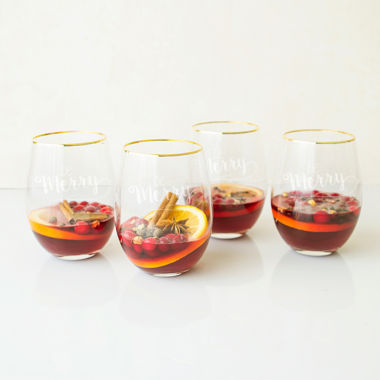 jcpenney.com | Cathy's Concepts Be Merry Gold Rim 4-pc. Stemless Wine Glass
