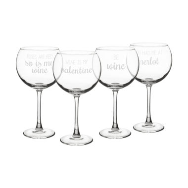 jcpenney.com | Cathy's Concepts Valentine'S 4-pc. Wine Glass
