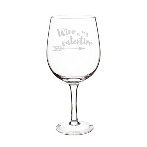 Cathy's Concepts Wine Is My Valentine Wine Glass
