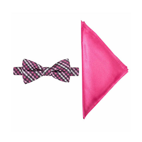 JF J. Ferrar® Mini Gingham Bow Tie and Pocket Square Set