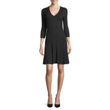 jcpenney.com | Worthington® 3/4-Sleeve Fit-and-Flare Sweater Dress