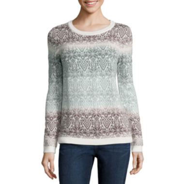 jcpenney.com | St. John's Bay® Long-Sleeve Fairisle Ombré Sweater