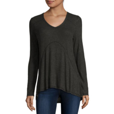 jcpenney.com | Miss Chevious Long-Sleeve High-Low Waffle Weave Top - Juniors