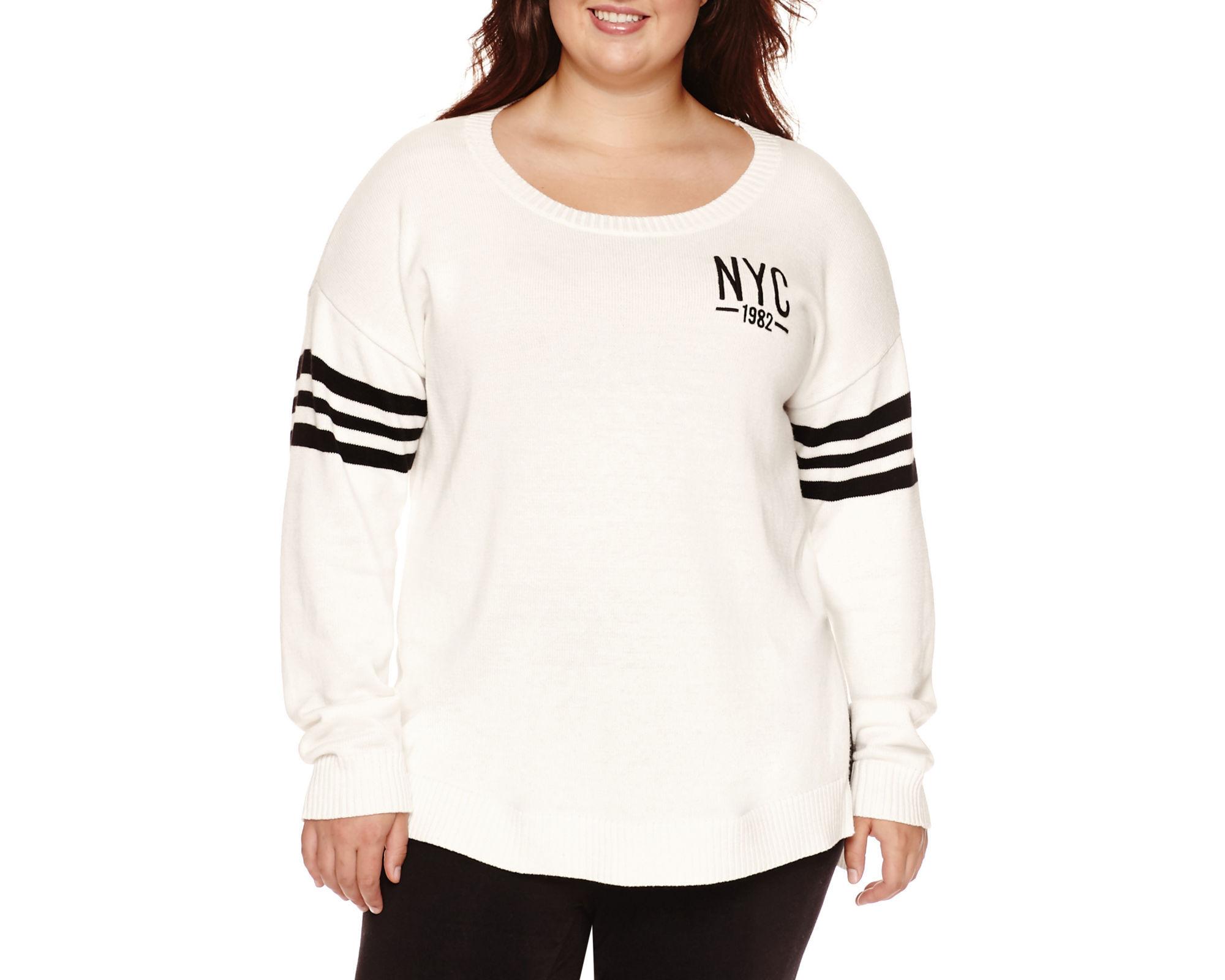 Arizona Long Sleeve Pullover Sweater-Juniors Plus