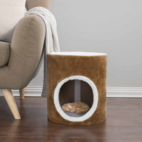 Petmaker Cat Condo Barrel Single Hole in Brown and White