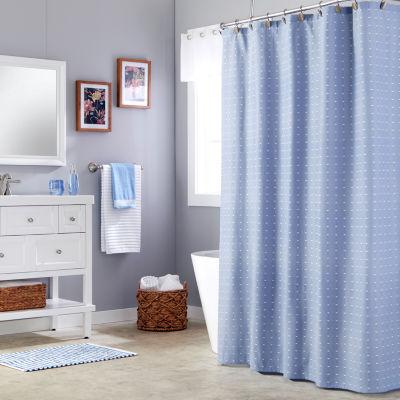 Saturday Knight Batik Blues Chambray Shower Curtain