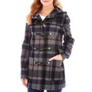Liz Claiborne® Wool-Blend Hooded Toggle Coat - Talls