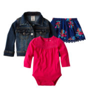 Arizona Denim Jacket, Long-Sleeve Bodysuit or Skirt - Girls